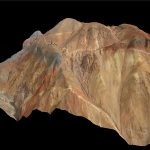Vue en 3D d'une zone de forage en milieu désertique (Lundin Mining, Pérou).